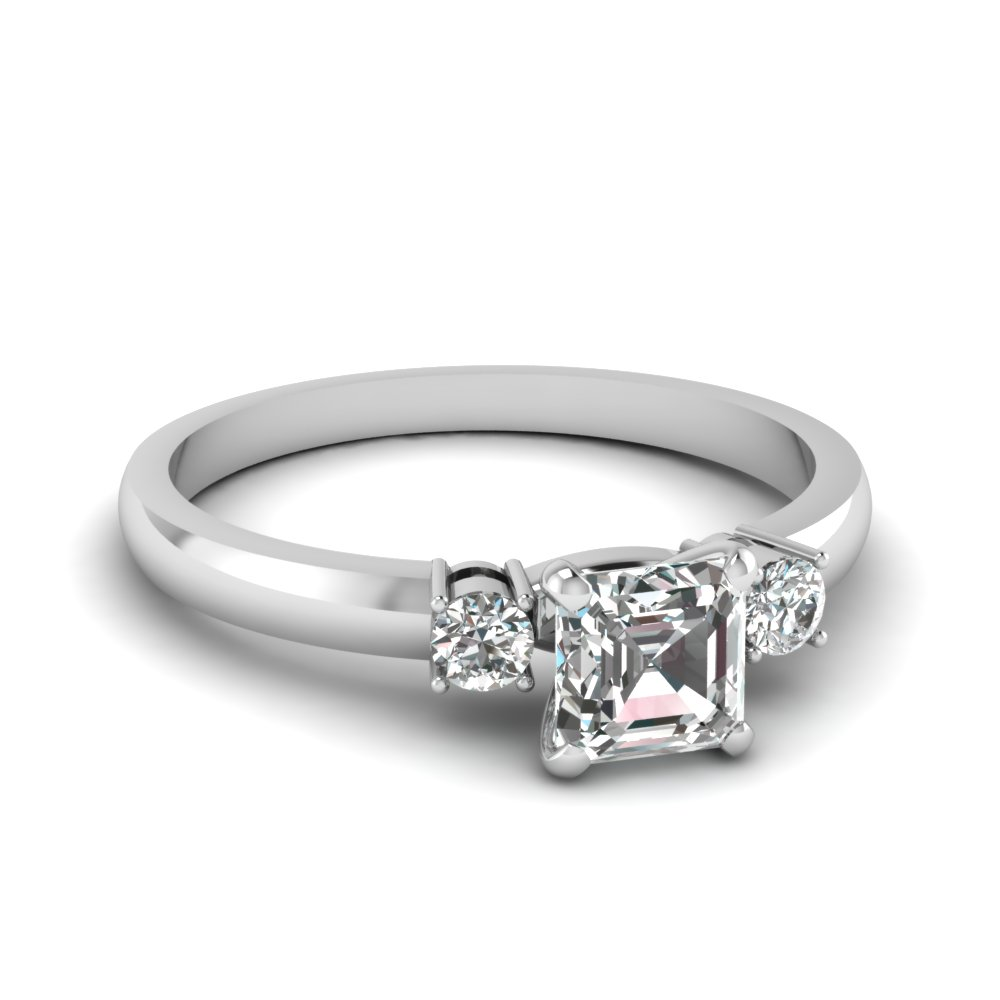 Asscher And Round Diamond 1/2 Carat 3 Stone Engagement Ring