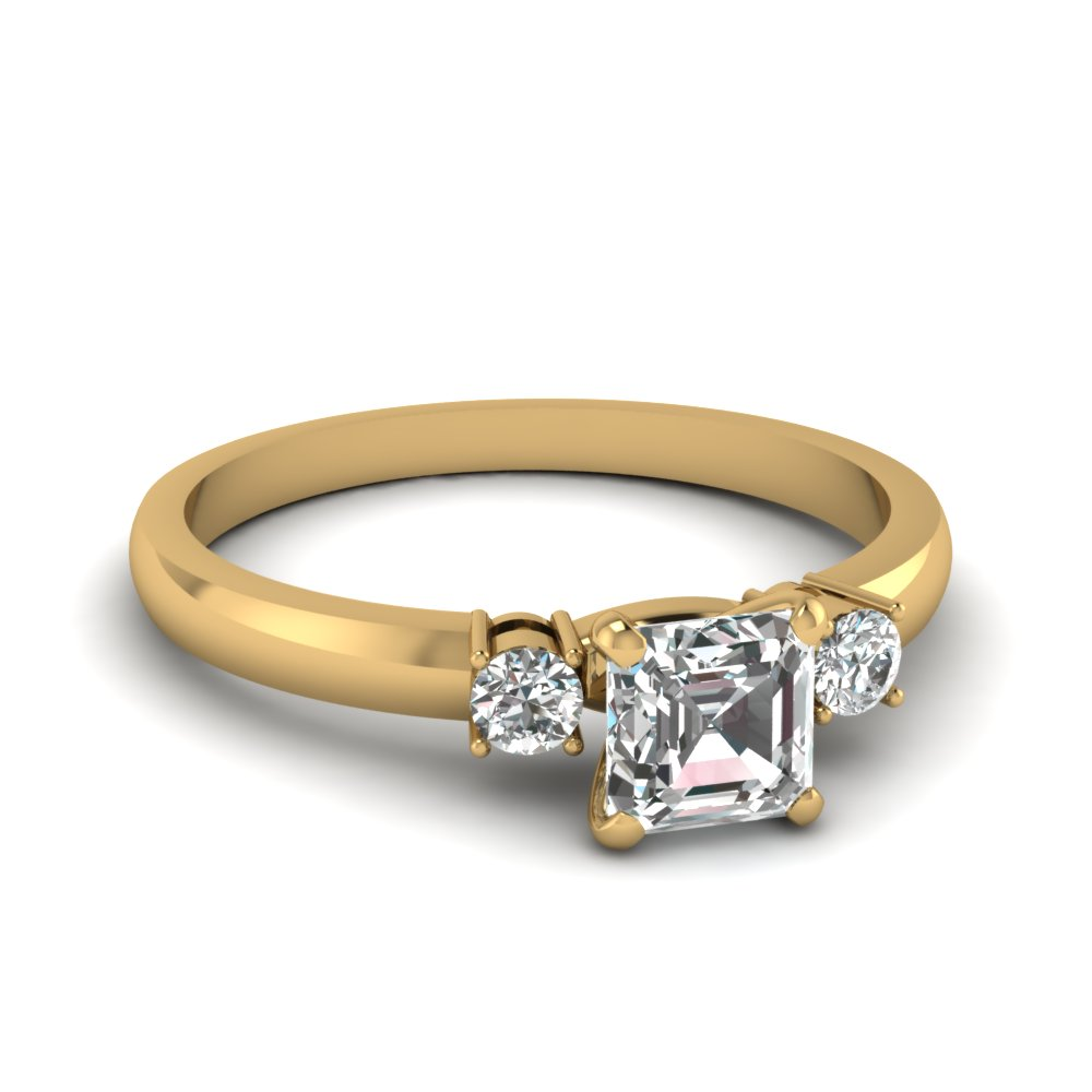 asscher and round diamond half carat 3 stone engagement ring in 14K yellow gold FDENS3106ASR NL YG