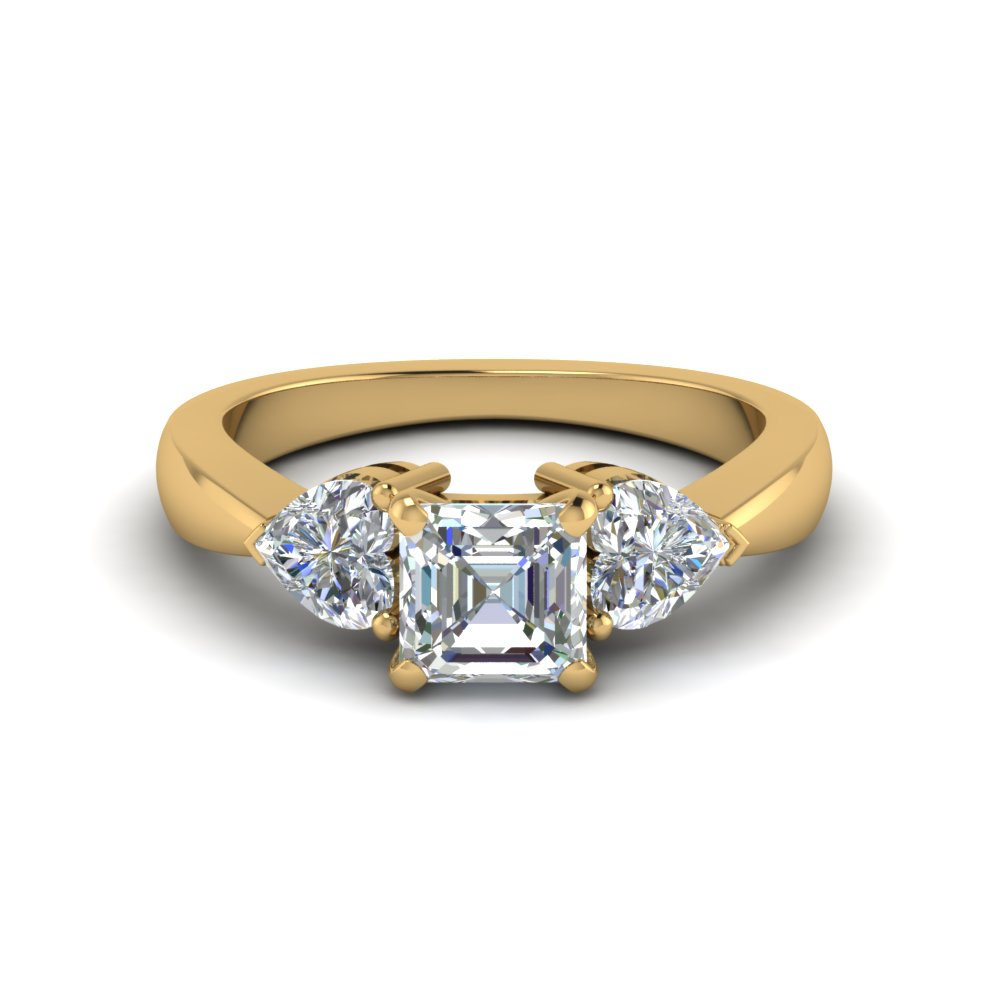 3 diamond asscher cut engagement ring in FD8029ASRANGLE1 NL YG