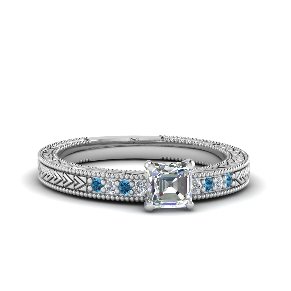 asscher cut antique design pave diamond engagement ring with ice blue topaz in FDENS3033ASRGICBLTO NL WG