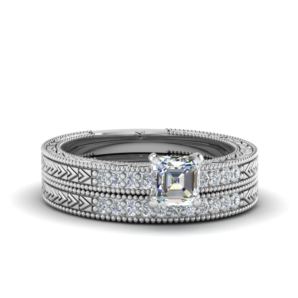 Asscher Cut Antique Design Pave Diamond Wedding Ring Set