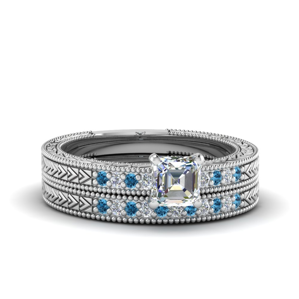 asscher cut antique design pave diamond wedding ring set with ice blue topaz in FDENS3033ASGICBLTO NL WG