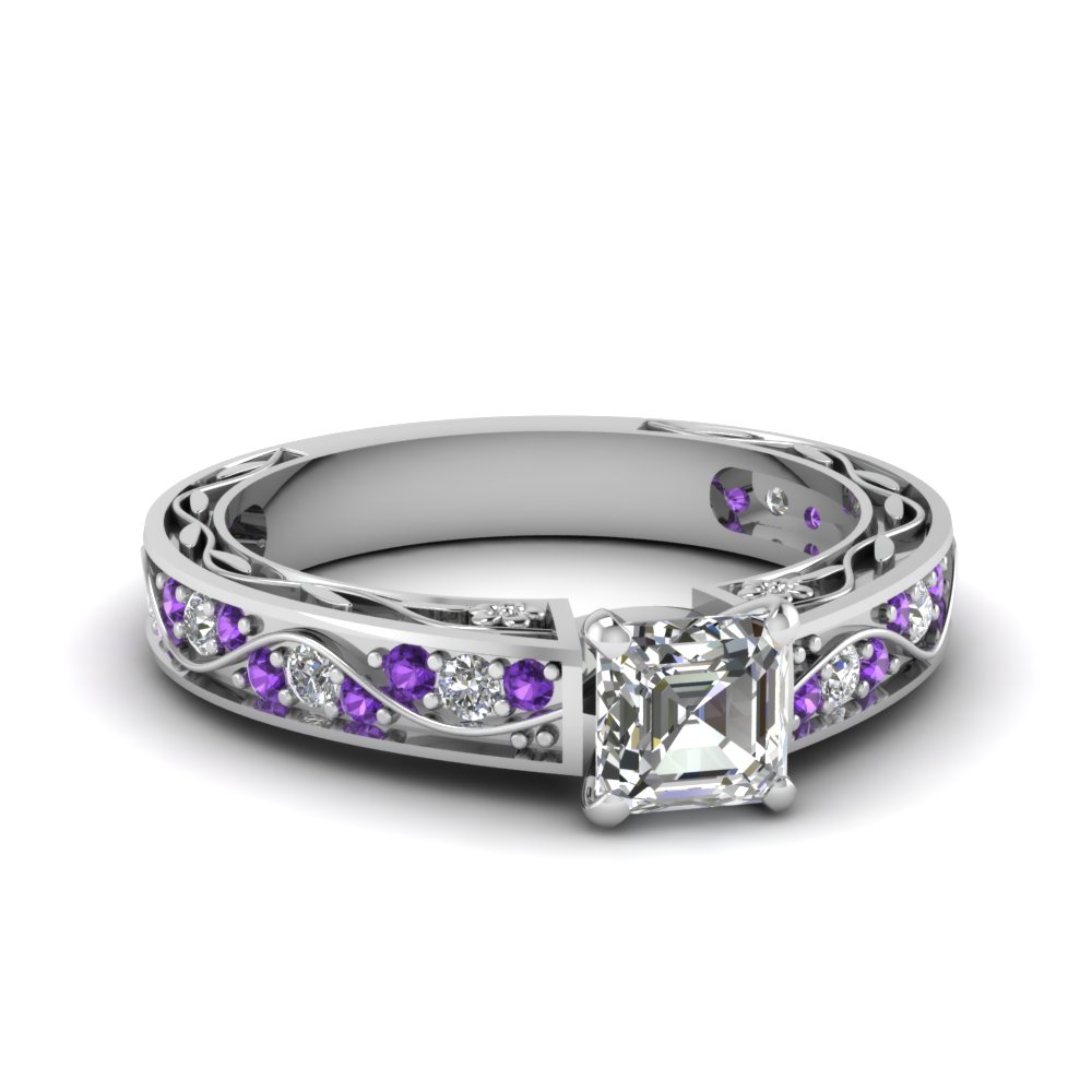 laurie solitaire white engagement sarah ring purple amethyst designs product gold plain shank rings with
