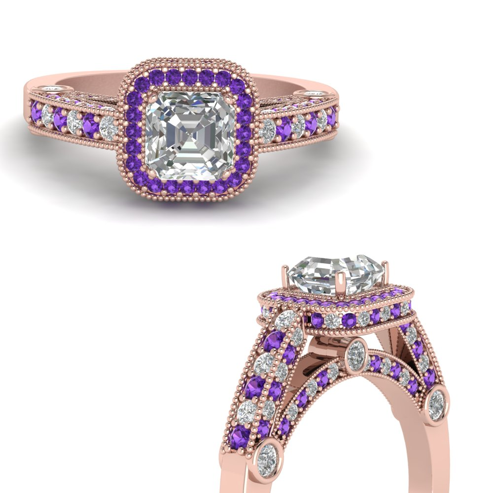 asscher cut antique square halo diamond engagement ring with violet topaz in FDENR6310ASRGVITOANGLE3 NL RG