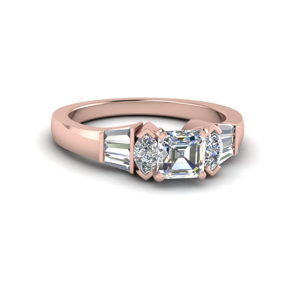Asscher Diamond And Baguette Ring