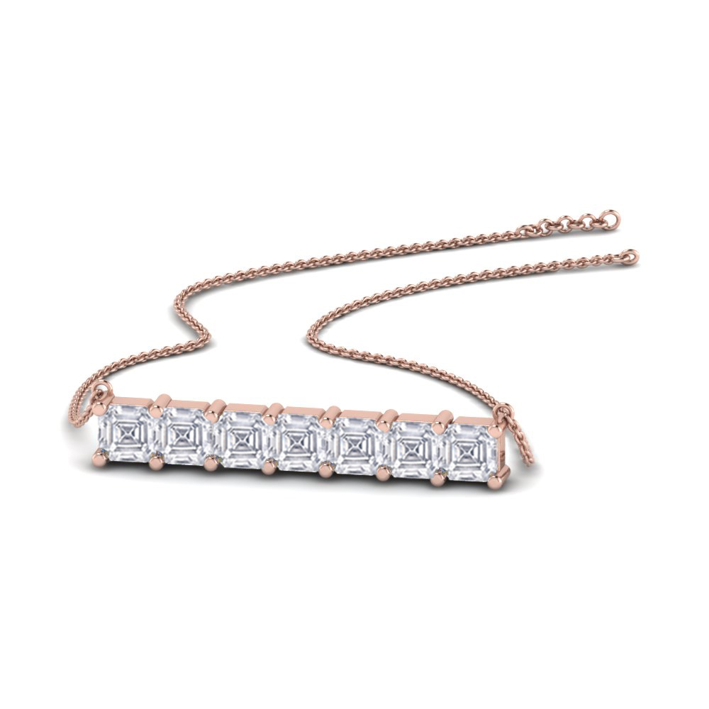 Asscher Cut Bar Necklace