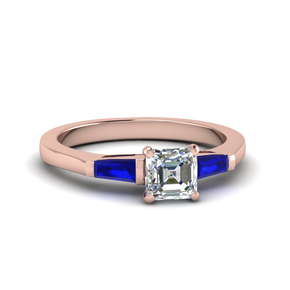 Rose Gold Asscher Cut 3 Stone Engagement Rings