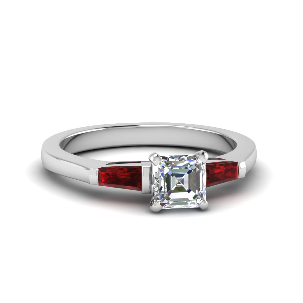 Asscher Cut Ruby 3 Stone Rings