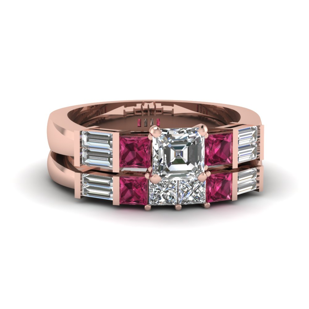 asscher cut diamond wedding ring sets with pink sapphire in 14k rose gold - Pink Wedding Ring Set