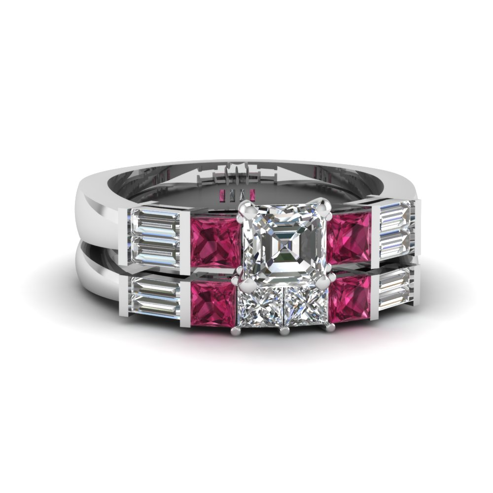 asscher cut bar set baguette and princess diamond wedding ring sets with pink sapphire in 950 Platinum FDENS343ASGSADRPI NL WG