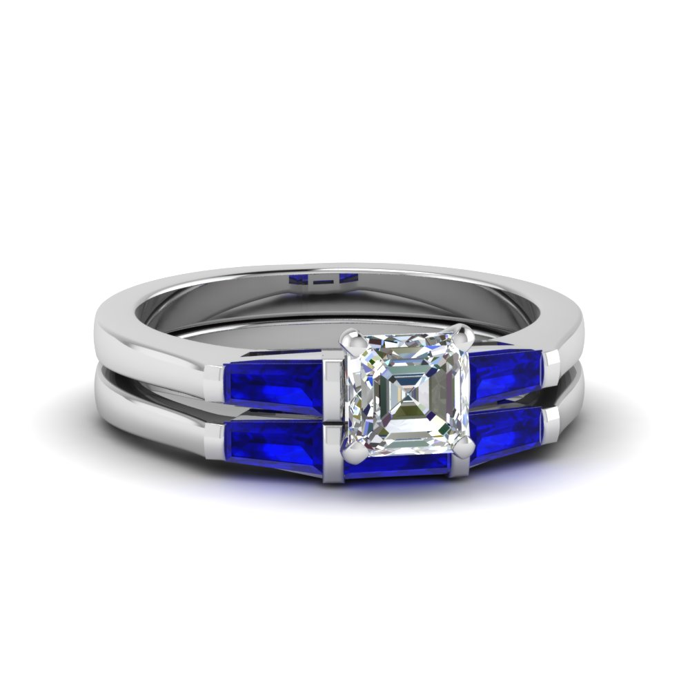 Sapphire Three Stone Wedding Set