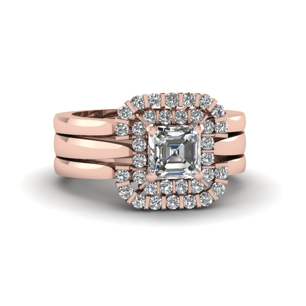 Bar Set Double Halo Diamond Trio Ring