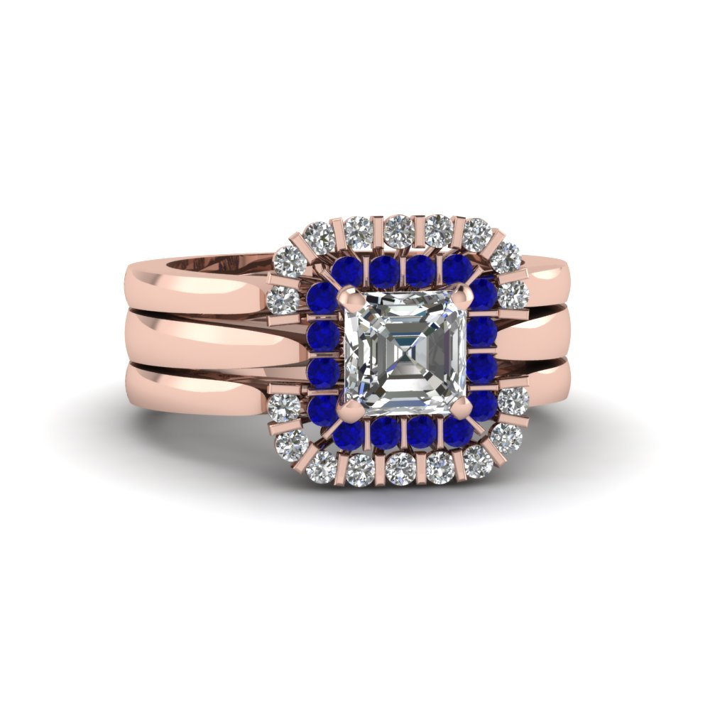 Sapphire Trio Wedding Ring In Rose Gold
