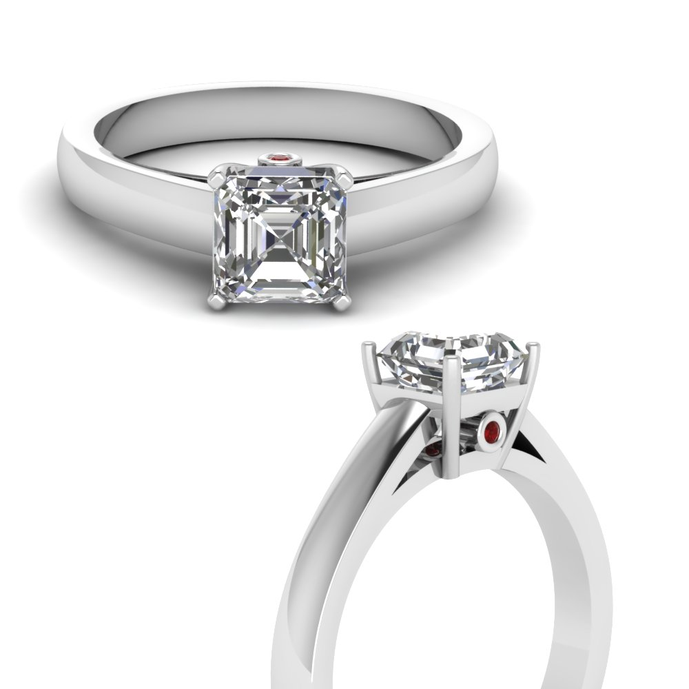 asscher cut basket diamond 3 stone engagement ring with ruby in FDENR7394ASRGRUDRANGLE3 NL WG