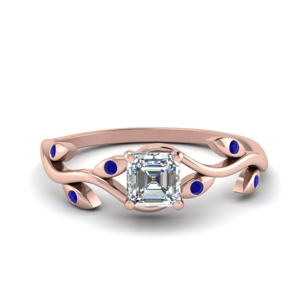 asscher cut branch diamond wedding ring with sapphire in FD8401ASRGSABL NL RG