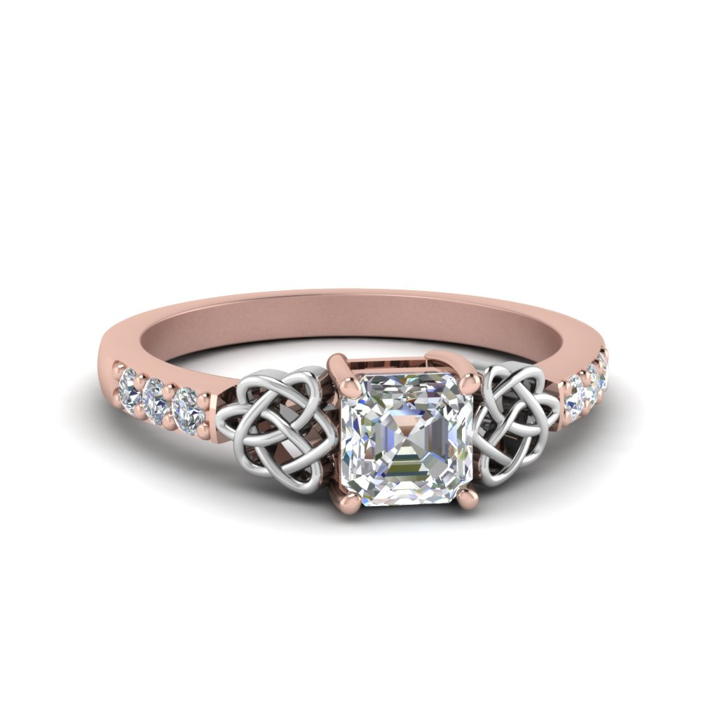 celtic asscher diamond engagement ring in 14k rose gold