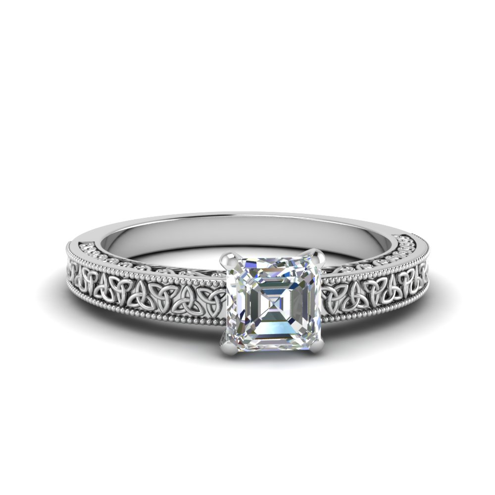 celtic engraved asscher solitaire engagement ring in FD8544ASR NL WG