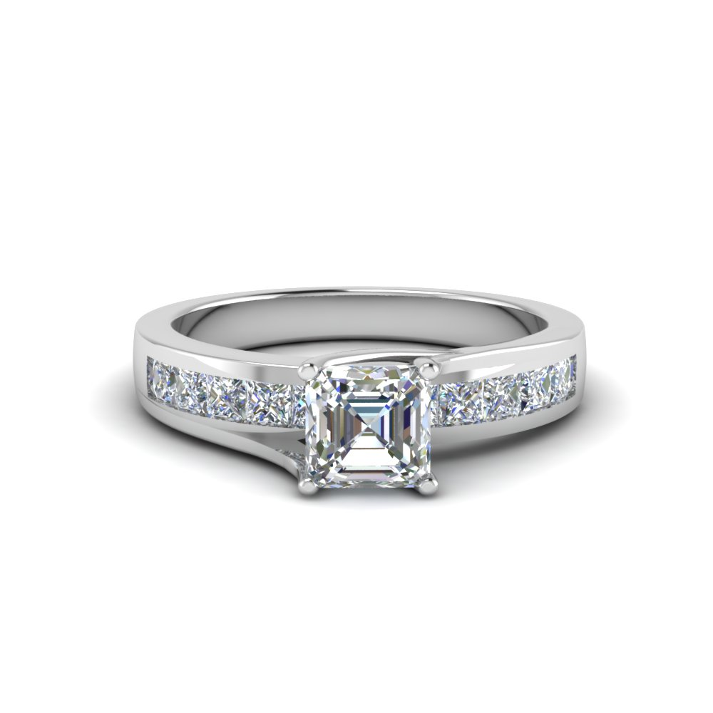 asscher cut channel accent diamond engagement ring in FDENR7776ASR NL WG
