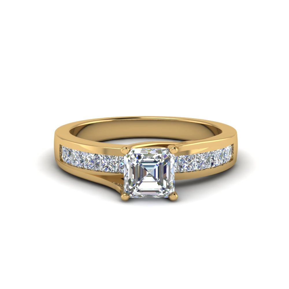 asscher cut channel accent diamond engagement ring in FDENR7776ASR NL YG