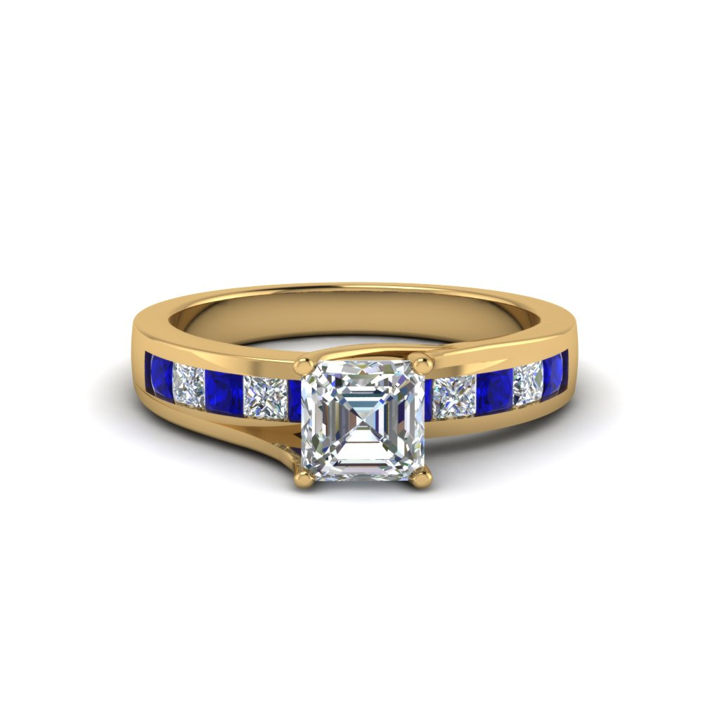 Beautiful Asscher Cut Ring With Blue Sapphire