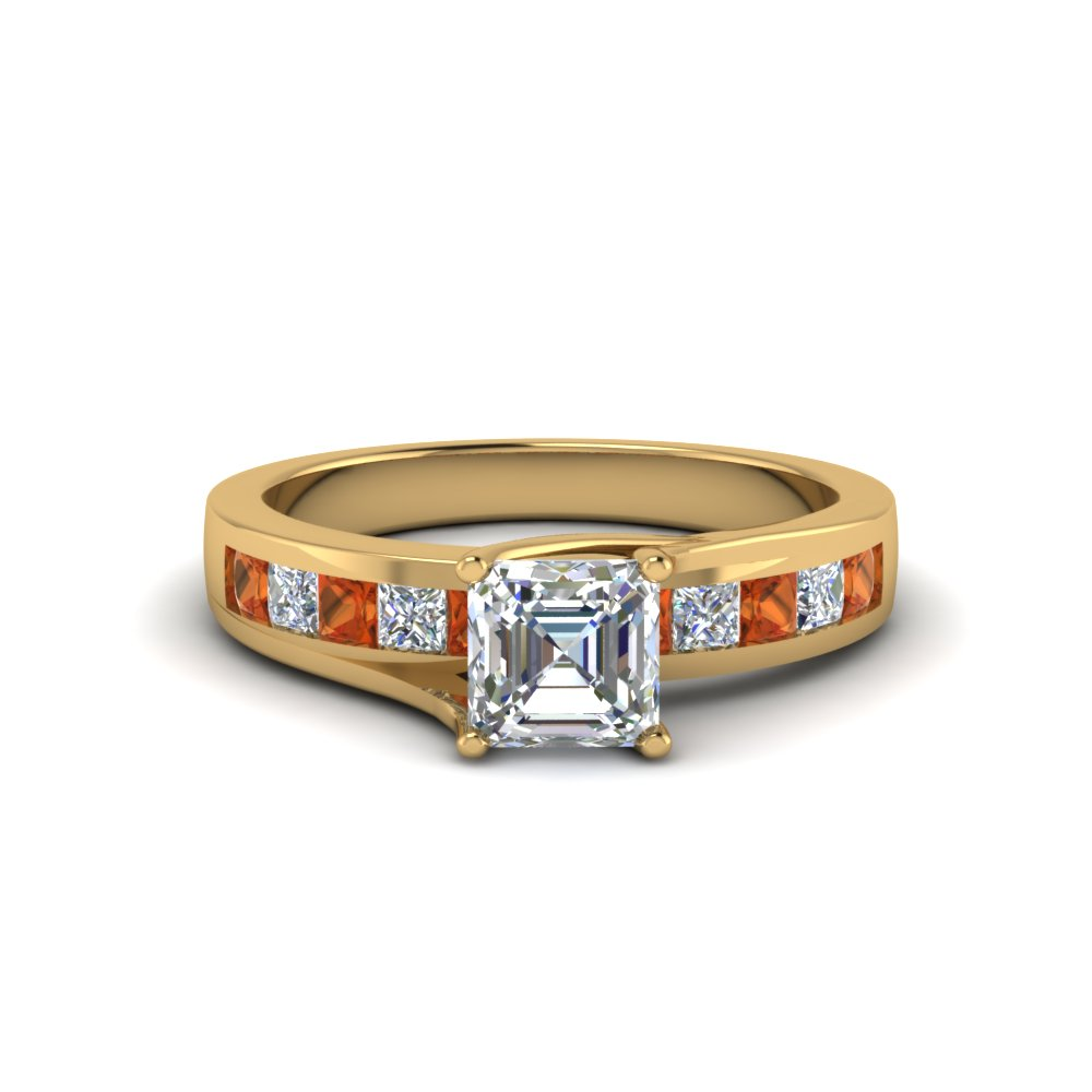 Beautiful Channel Set Orange Sapphire Ring