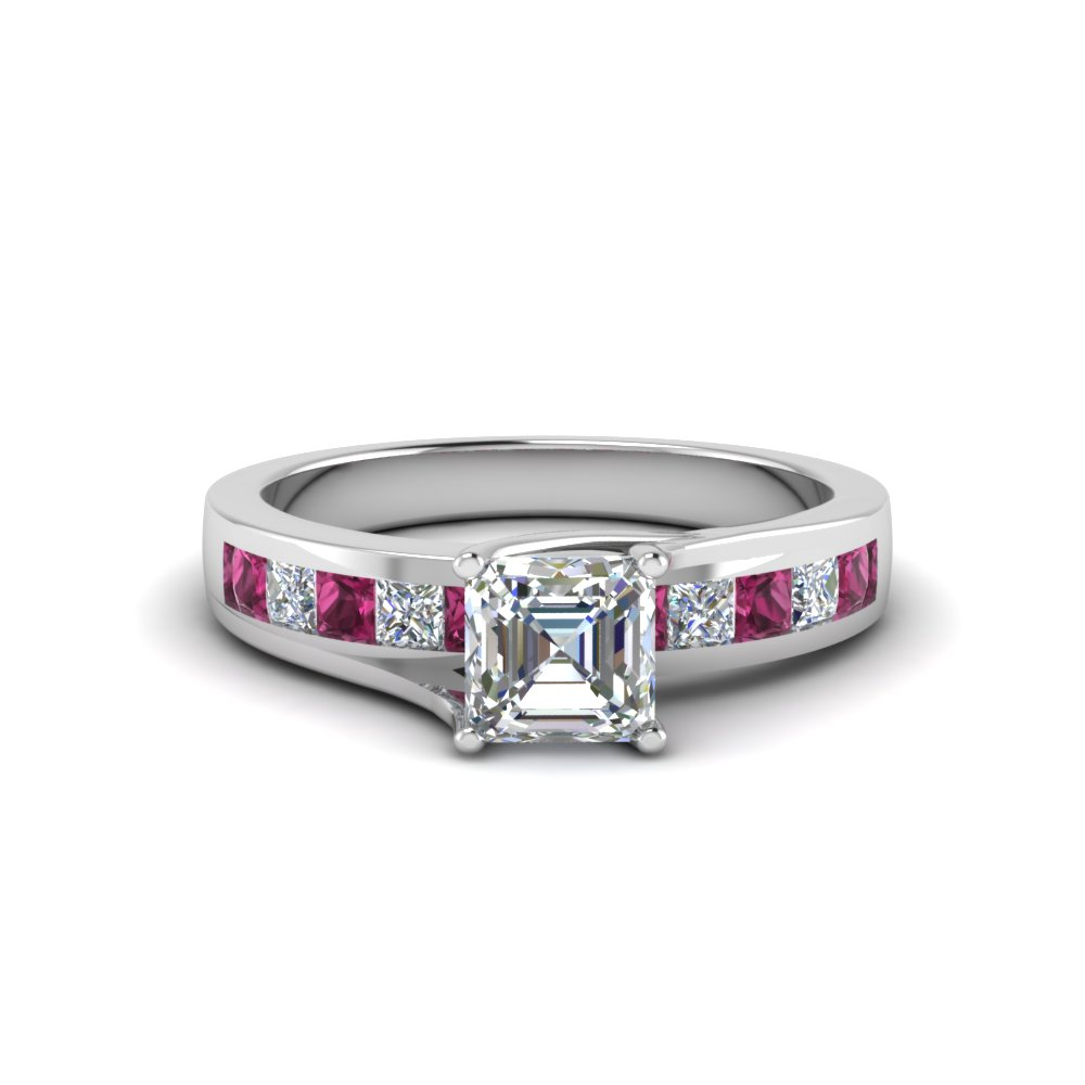 Pink Sapphire Platinum Engagement Ring