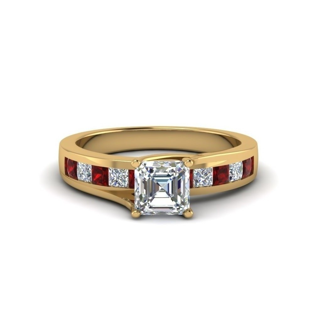 Diamond Engagement Ring With Ruby Accents