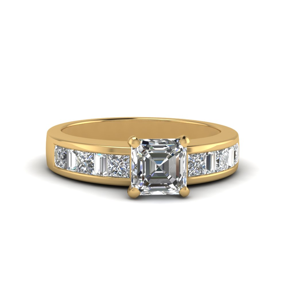 asscher cut channel baguette and princess accent diamond engagement ring in FDENS350ASR NL YG