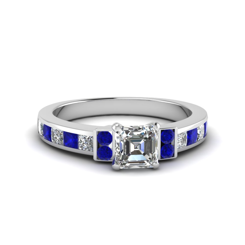 asscher cut channel bar set diamond engagement ring for women with blue sapphire in FDENR989ASRGSABL NL WG