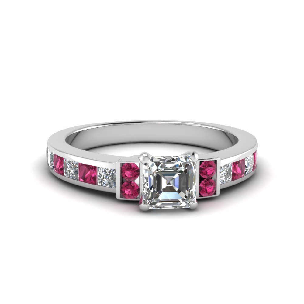 asscher cut channel bar set diamond engagement ring for women with pink sapphire in FDENR989ASRGSADRPI NL WG