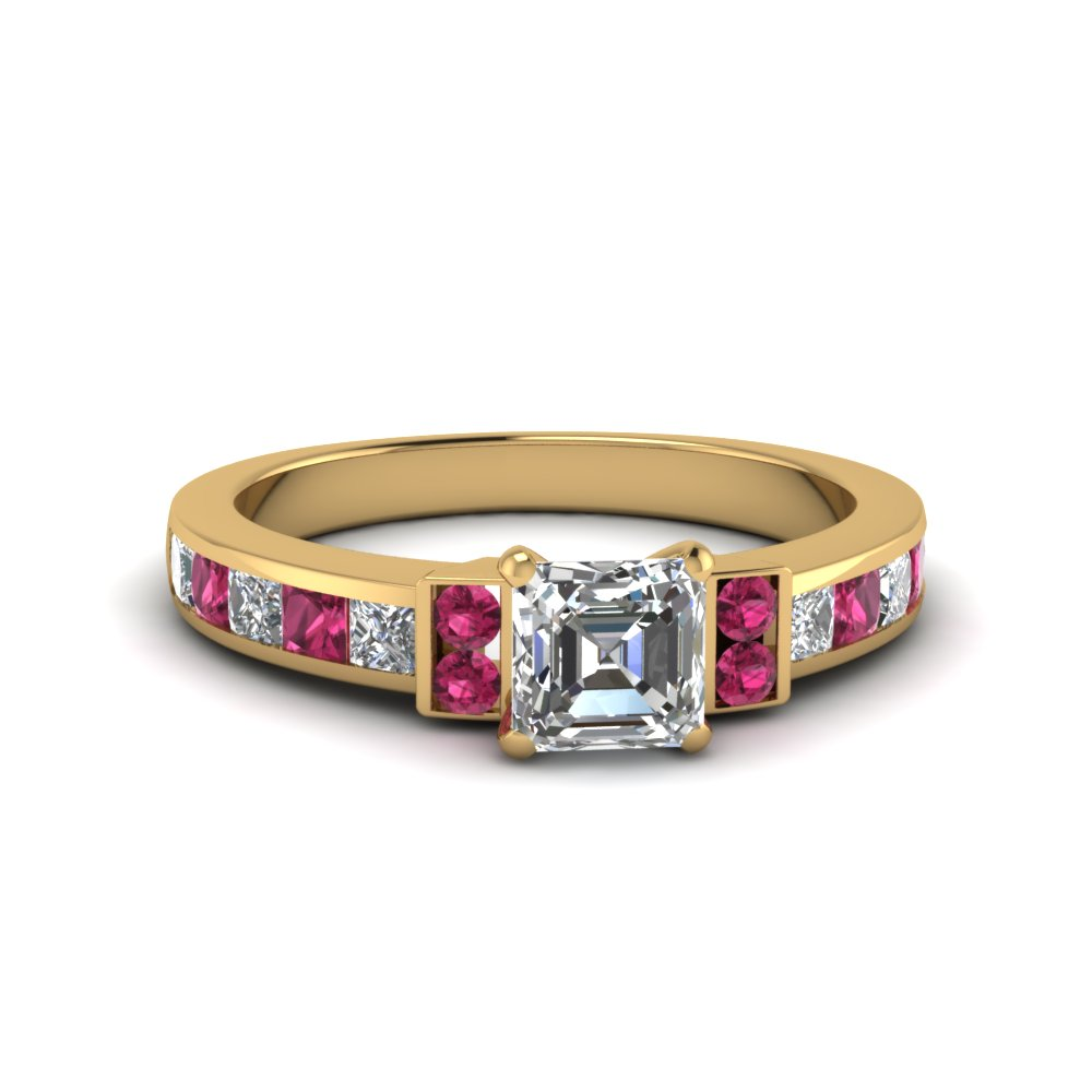 asscher cut channel bar set diamond engagement ring for women with pink sapphire in FDENR989ASRGSADRPI NL YG