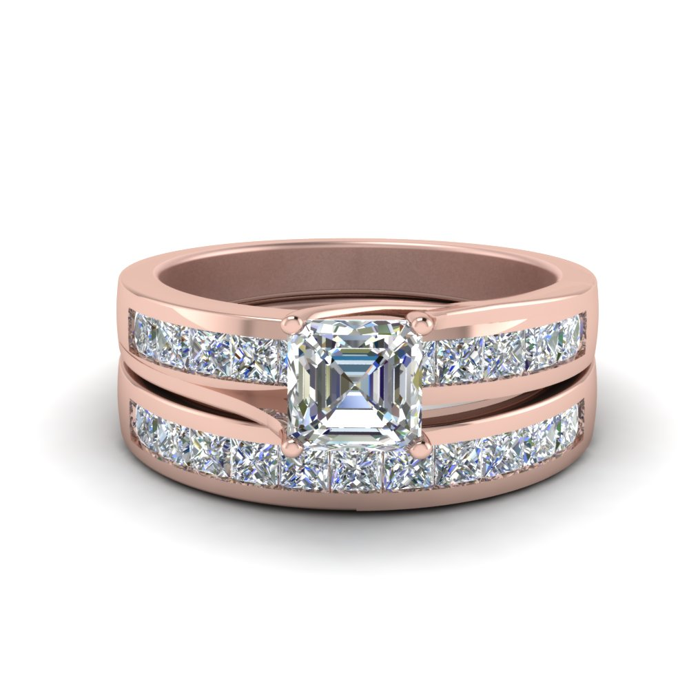 Wide Channel Diamond Ring Set