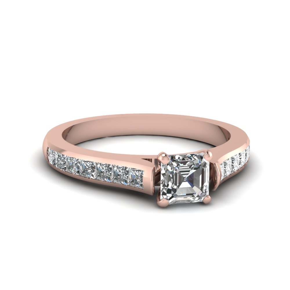 Asscher Cut Diamond Cathedral Engagement Ring in Rose Gold