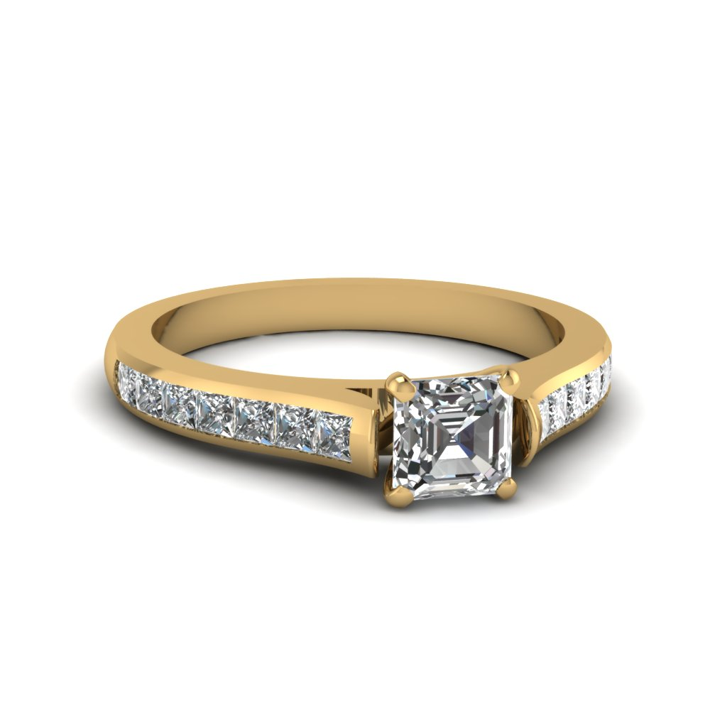 asscher cut cathedral channel set diamond engagement ring in FDENS877ASR NL YG 30