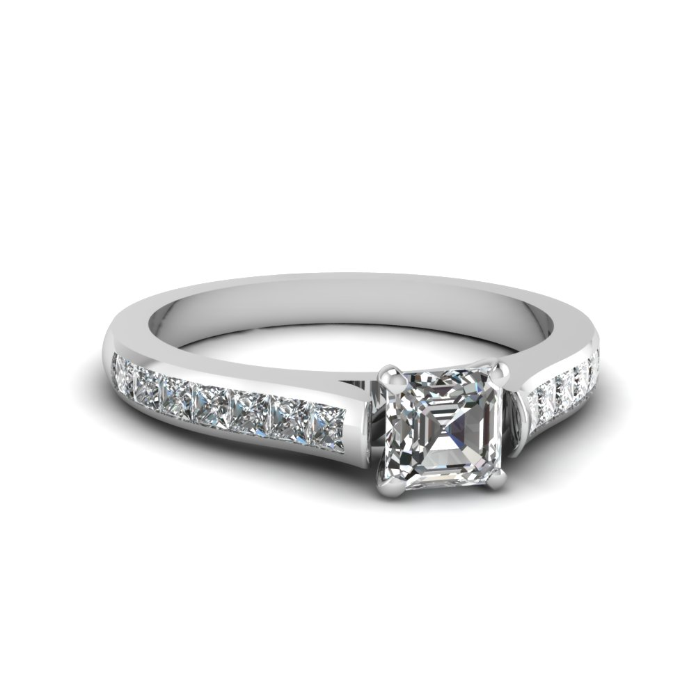 asscher cut cathedral channel set diamond engagement ring in FDENS877ASR NL WG 30