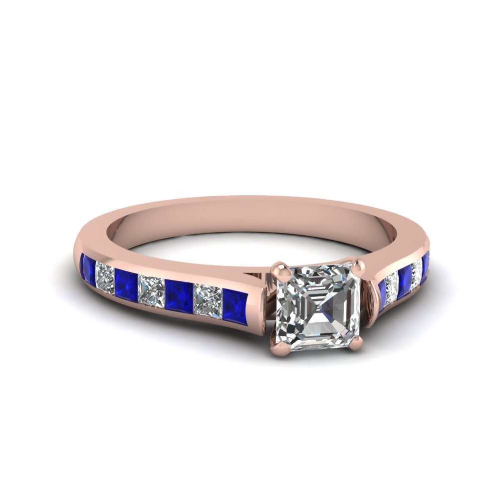 Asscher Cut Diamond with Blue Sapphire Engagement Ring in Rose Gold