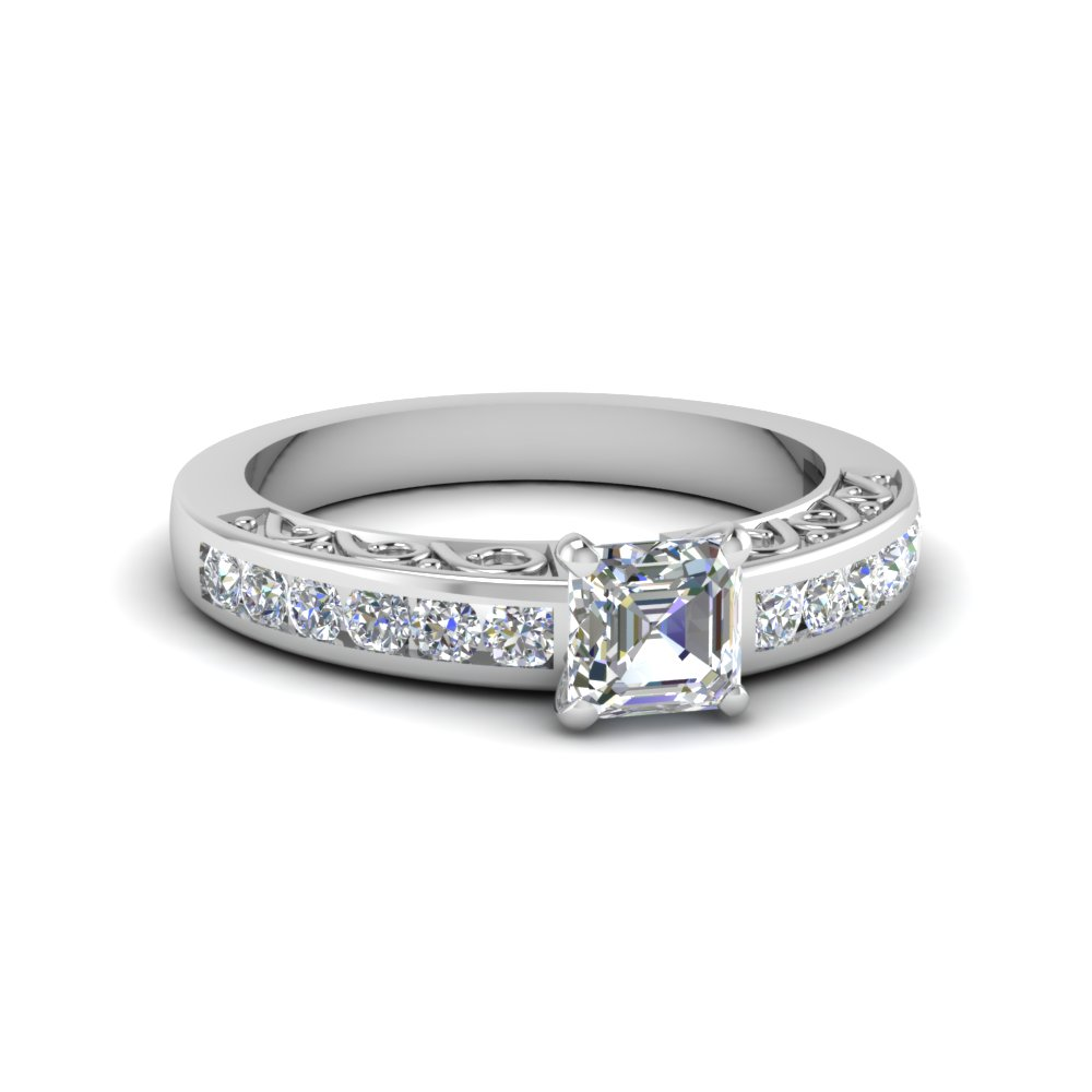 3/4 Carat Asscher Cut Diamond Engagement Ring For Women