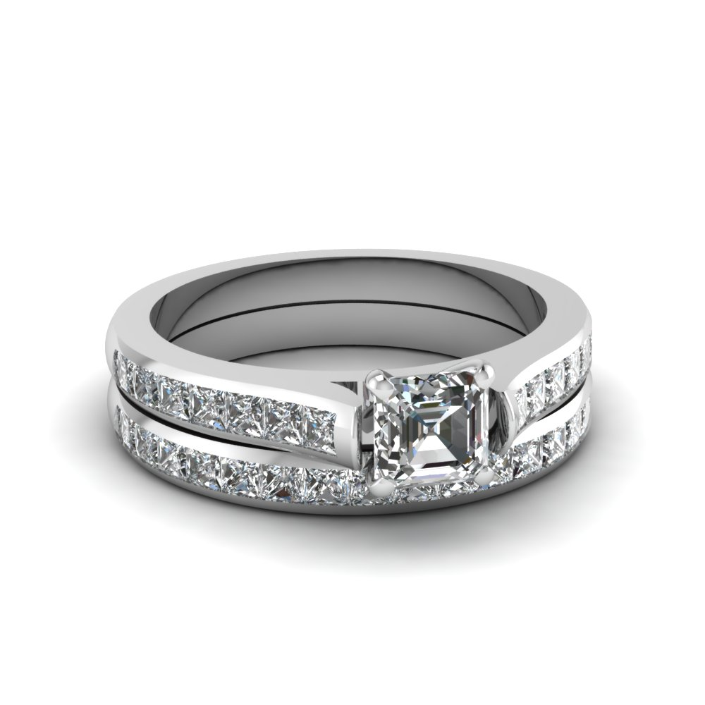 asscher cut channel set diamond wedding ring sets in 14K white gold FDENS877AS NL WG 30