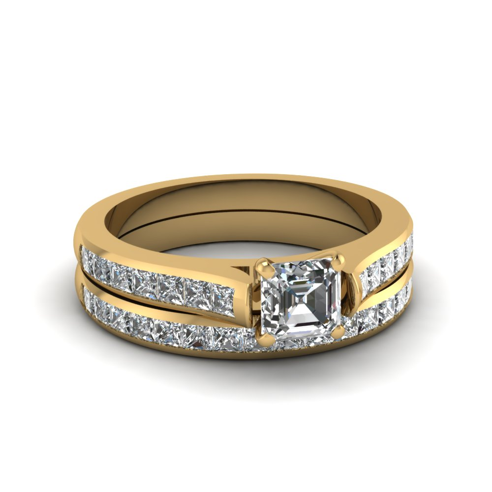 asscher cut channel set diamond wedding ring sets in 14K yellow gold FDENS877AS NL YG 30