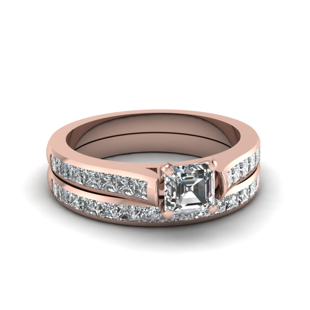 asscher cut channel set diamond wedding ring sets in 18K rose gold FDENS877AS NL RG 30
