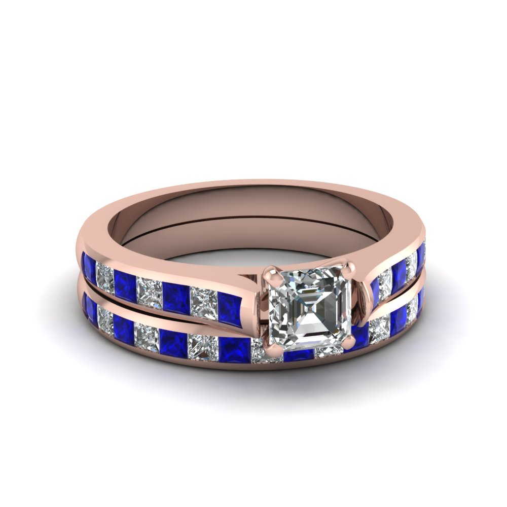 asscher cut channel set diamond wedding ring sets with sapphire in 14K rose gold FDENS877ASGSABL NL RG 30