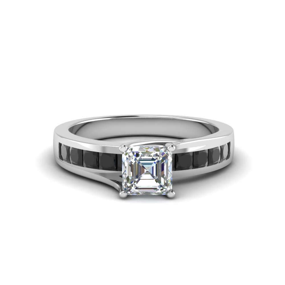 Channel Princess Black Diamond Accented Ring