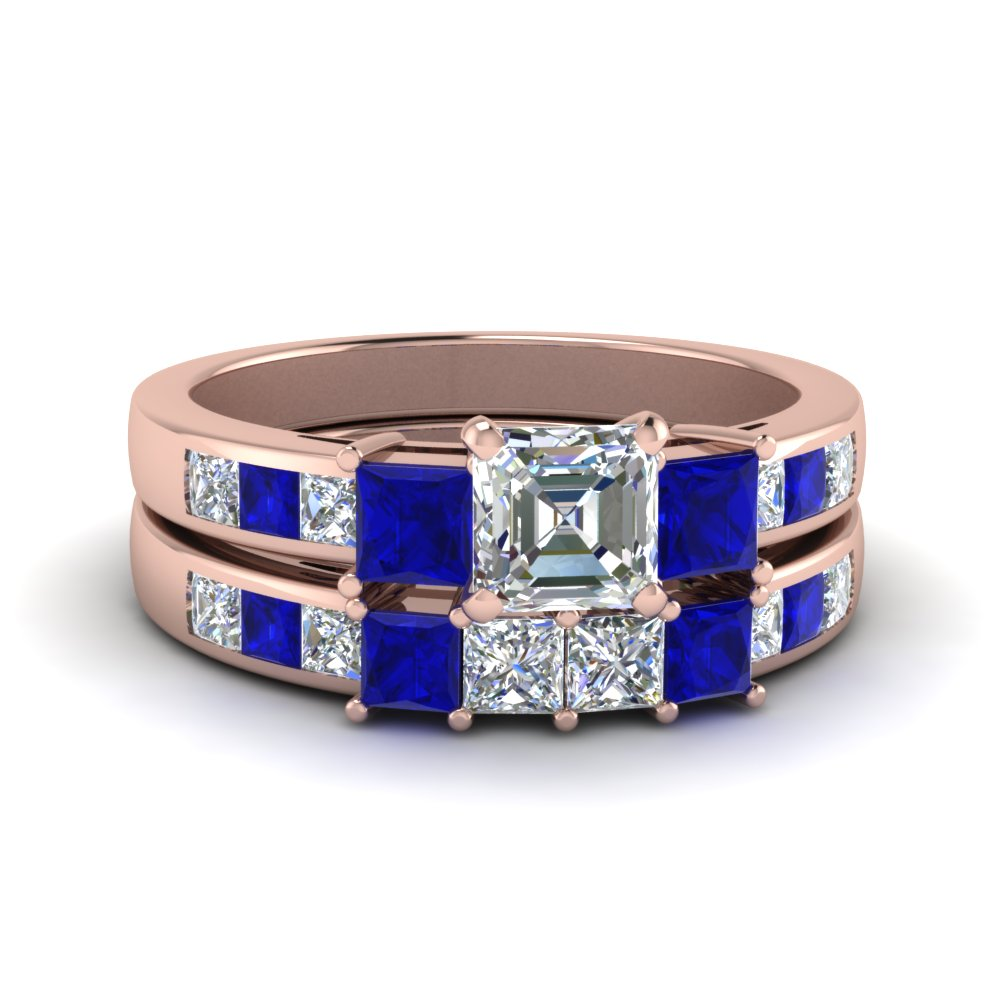 asscher cut channel three stone diamond wedding set with sapphire in 14K rose gold FDENS205ASGSABL NL RG