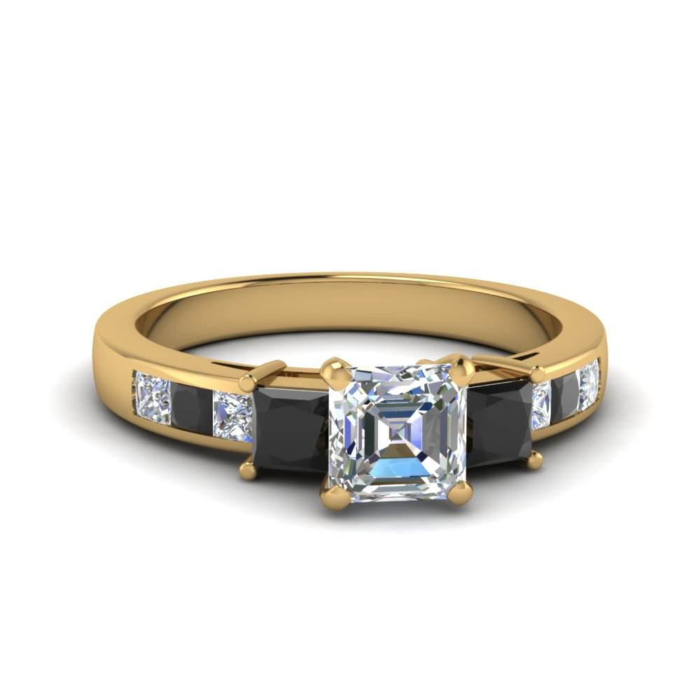 asscher cut channel three stone engagement ring with black diamond in FDENS205ASRGBLACK NL YG
