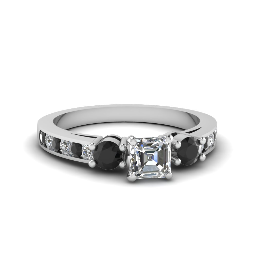 asscher cut channel three stone ring with black diamond in FDENS460ASRGBLACK NL WG