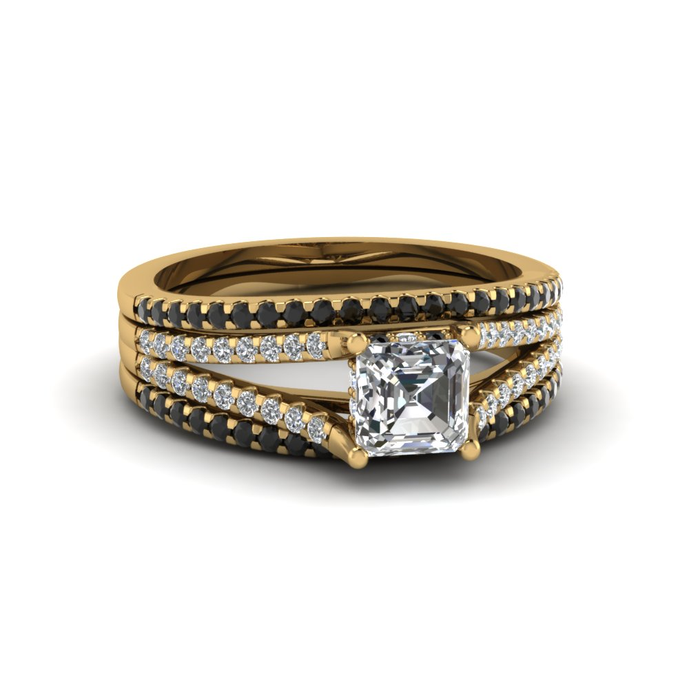 Asscher Cut Cheap Trio Bridal Sets For Women With Black Diamond In 14k  Yellow Gold Fdens1759tasgblack