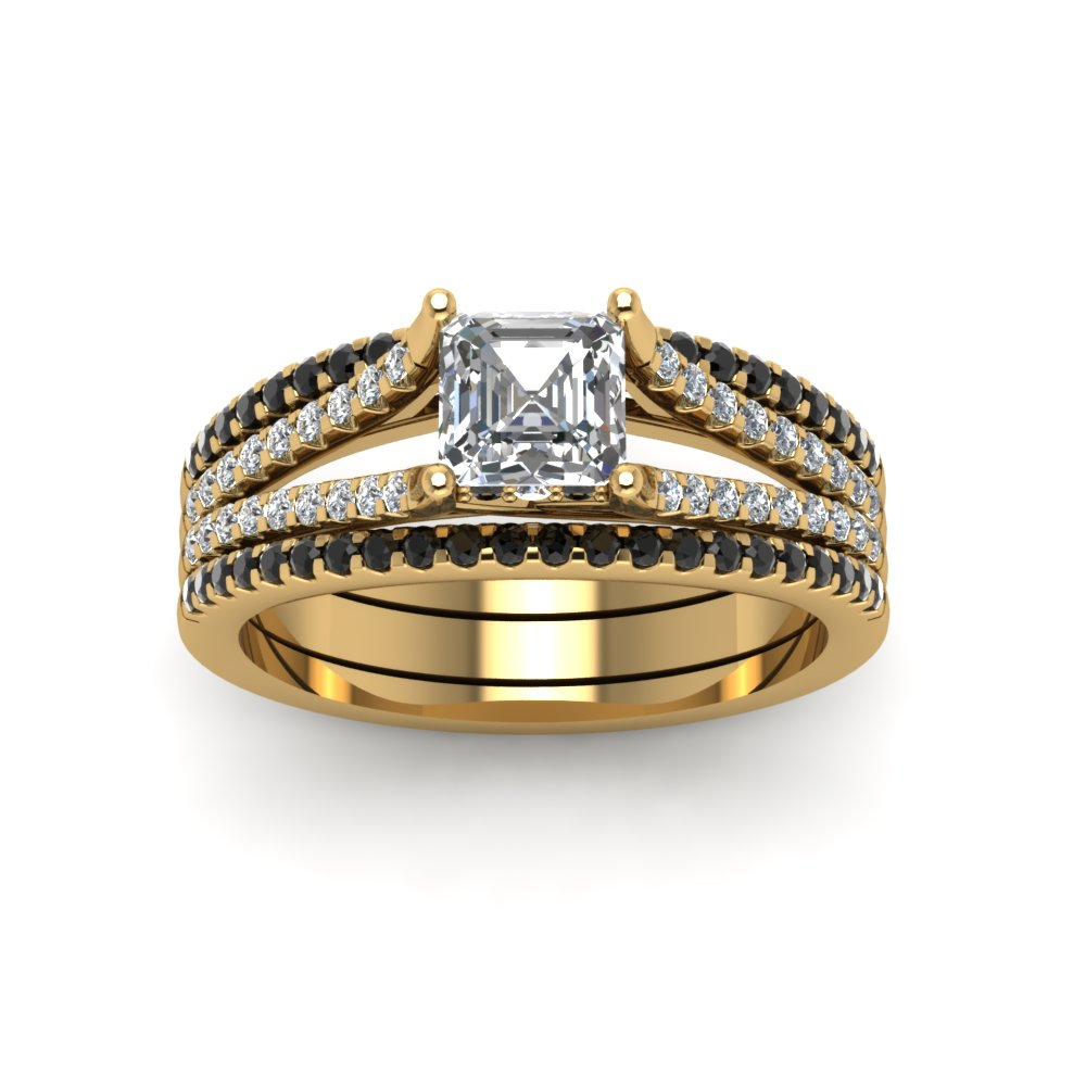 Asscher Cut Trio Bridal Sets For Women With Black Diamond In 14K