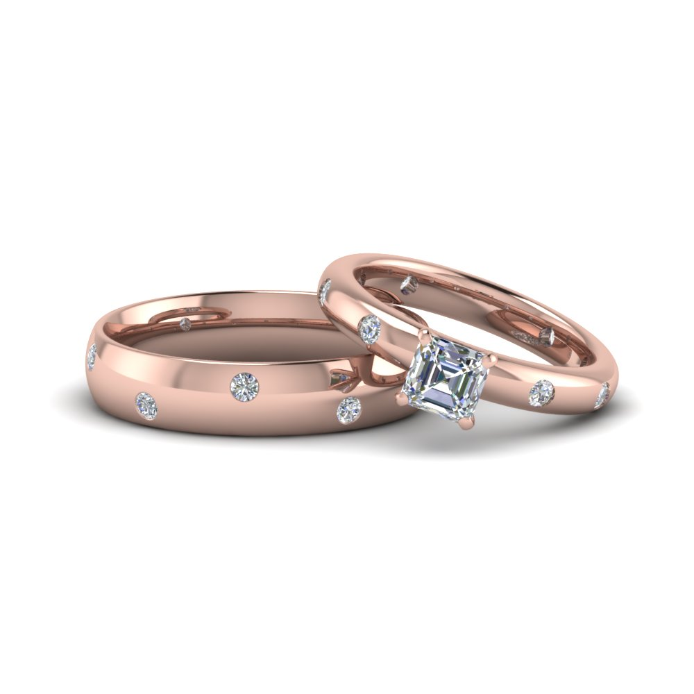 asscher cut couple wedding rings his and hers matching anniversary sets gifts in 14K rose gold FD8138B NL RG