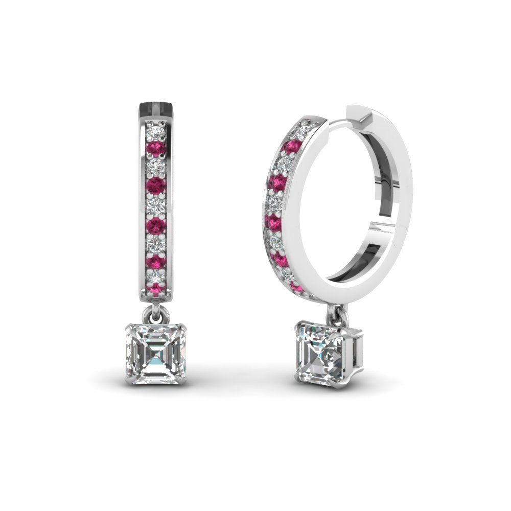 Affordable Pink Sapphire Hoop Earrings |Fascinating Diamonds