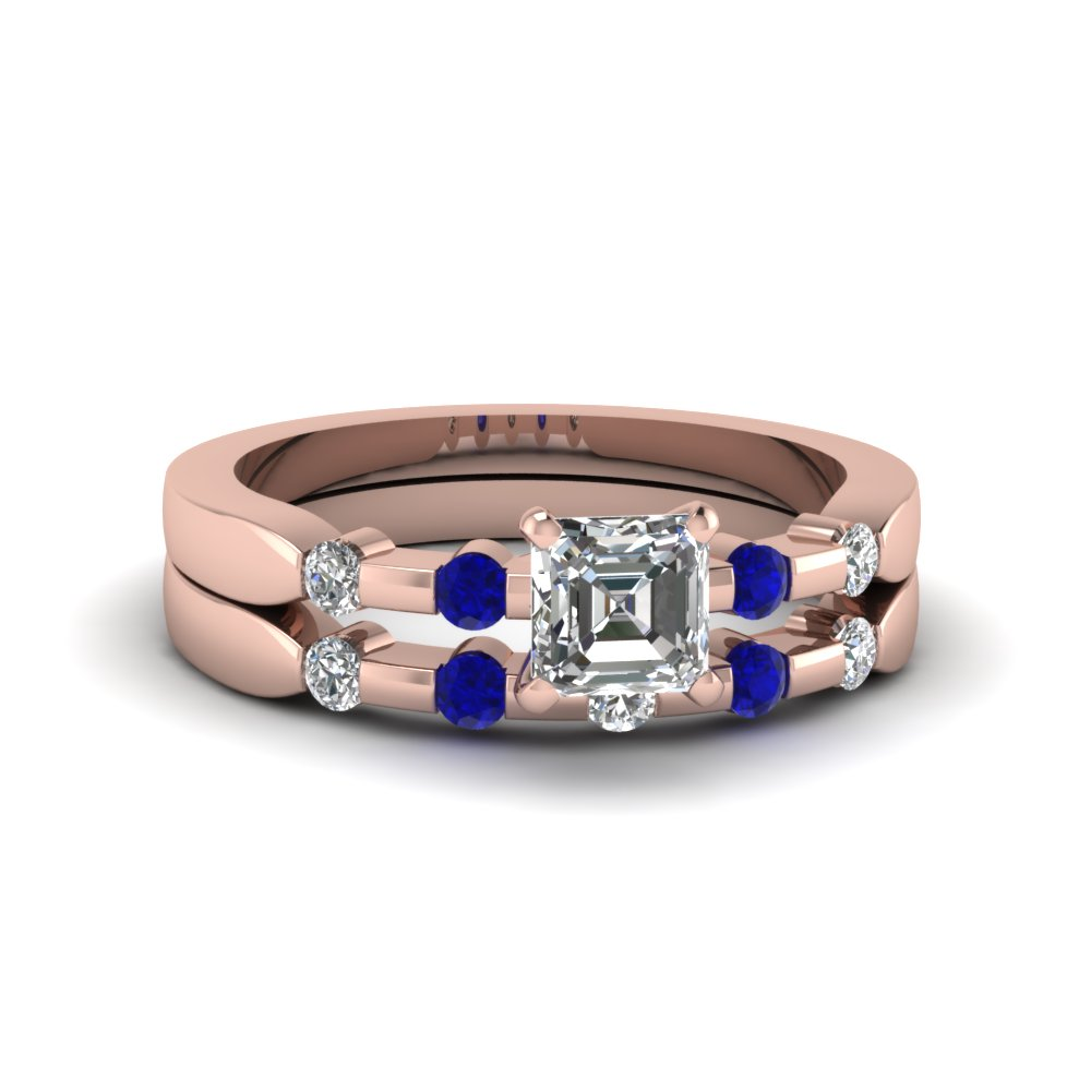 asscher cut delicate diamond wedding ring set with blue sapphire in 14K rose gold FDENS3063ASGSABL NL RG